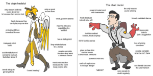 """Virgin Healslut vs Chad Doctor: The virgin healslut  The chad doctor  the only reason  you're winning  only as good  as her team  only reason anybody  powerful male bond  with teammates  is because they wanna fuck  heals because  broad, confident stance  weak, passive stance  nobody else will  heals because they  can't play anyone else  has the offensive  capability of a  wet fart  probably still has  a medical license  hippocratic  oath is  lost his medical  just a suggestion  licen  heals anyway  has a shitty pistol  10/10 fashion sense  has a fucking  inelegant robot  outfit  limp-wristed shove  for a melee  crossbow  gives so few shits  people complain  when he isn't there  people complain  because they want  a different healer  accidentally turned  at he leaves  a bird inside someone  Someone undead,  feels bad about it  powerful chad face  needs resurrection  surfs off explosions  to escape danger  because she can't  can literally become  the ubermensch  keep people alive  needs wings to  get anywhere  """"MEDIC!""""  i need healing""""  saws people to  death regularly Virgin Healslut vs Chad Doctor"""