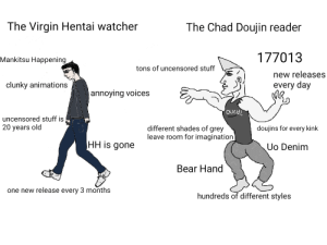 🦀🦀 Hentai Haven is gone 🦀🦀: The Virgin Hentai watcher  The Chad Doujin reader  177013  Mankitsu Happening  tons of uncensored stuff  new releases  every day  clunky animations  annoying voices  oveH  uncensored stuff is  20 years old  different shades of grey  leave room for imagination  doujins for every kink  HH is gone  Uo Denim  Bear Hand  one new release every 3 months  hundreds of different styles 🦀🦀 Hentai Haven is gone 🦀🦀