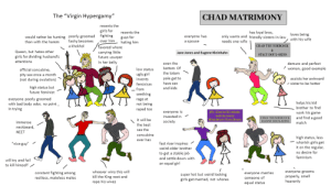 """The Virgin Hypergamy vs the Chad Matrimony: The """"Virgin Hypergamy""""  CHAD MATRIMONY  resents the  girls for  has loyal bros,  only wants and friendly sisters-in-law  resents the  loves being  with his wife  would rather be hunting poorly groomed  fashy becomes  a khokhol  fighting  guys for  hating him  everyone has  over him  needs one wife  than with the harem  a spouse  CHAD THUNDERCOCK  favored whore  Queen, but hates other  carrying little  future usurper  Jane Jones and Eugene Kleinhahn  STACY DOUX-SEINS  girls for dividing husband's  attentions  In her belly  even the  bottom Of  demure and perfect  /  woman, good example  low status  official concubine,  the totem  pity sex once a month  (not during ovulation)  ugly girl  pole get to  assists her awkward  invents  have sex  sister to be hotter  feminism  high status but  and kids  from  seething  future feminist  everyone poorly groomed  with bad body odor, no point.  In trying  rage at  not being  helps his kid  brother to find  work his game  raped too  Mr. Charles K leinhahn  everyone is  invested in  with the lovelp  and find a good  match  EWAN THUNDERCOCK  it will be  Miss Stacie Lpnn Jones  society  JOANNE DOUX-SEINS  immense  the best  neckbeard,  sex the  NEET  concubine  high status, less  whorish girls get  it on the regular,  ever has  """"nice guy""""  fast riser inspires  weird older brother  no desire for  to get a stable job  feminism  and settle down with  will try and fail  to kill himself/  an equal girl  whoever wins this will  everyone grooms  constant fighting among  everyone marries  someone of  super hot but weird looking  girls get married, not whores  properly, smell  heavenly  kill the King next and  rape his wives  restless, mateless males  equal status The Virgin Hypergamy vs the Chad Matrimony"""