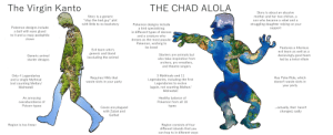 """Animals, Anime, and Bad: The Virgin Kanto  THE CHAD ALOLA  Story is about an abusive  mother and her two chilren, a  Story is a generic  """"stop the bad guy"""" plot  with little to no backstory  son who became a rebel and a  struggling daughter relying  Pokemon designs include  a bird specializing  in different types of dances  and a creature who  on your  Pokemon designs include  a ball with eyes glued  to it and a crepy pedophile  support  clown  dreses as the most popular  Pokemon, wishing to  be loved  Features a hilarious  Evil team who's  evil team as well as a  generic and bland  Starters are animals but  decievingly good team  led by a twist villain  Generic animal  (excluding the anime)  also take inspiration from  archers, pro wrestlers,  and theatre singers  starter designs  3 Mythicals and 11  Only 4 Legendaries  and a single Mythical  (not counting Meltan/  Melmetal)  Has Poke Ride, which  Requires HMs that  Legendaries, including the first  Legendaries to evolve  (again, not counting Meltan/  Melmetal)  waste slots in your party  doesn't waste slots in  your party  An annoying  Healthy balance of  Pokemon from all 18  overabundance of  Poison-types  types  ..actually, that hasn't  changed, sadly  Caves are  plagued  with Zubat and  Golbat  Region consists of four  different islands that you  Region is too linear  can hop to in diferent ways The Virgin Kanto vs. the Chad Alola"""