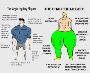 """God, Gym, and Lol: The Virgin Leg Day Skipper  THE CHAD """"QUAD GOD""""  Can't support his upper  body weight, can barely  DOESNT EVEN  HUGE  Cheated his way to  stand without assistance  GIRTHY LEGS  KNOW WHAT  get to where he is,  lifelong steroids user  PUSHUPS ARE  Always hides  his lower half  behind  something,  ΟNΕ ΚΙCK  works as a  Makes  FROM HIM IS  cashier at a  youtube videos  99.9%  restaurant  where the  LETHAL  camera doesn't  show his legs  Too scared to  CAUSES  do deadlifts  STRAIGHT  CAUSES  ΜEΝ ΤΟ  Can't get  EARTHQUAKES  STUMBLE  back if  WHEN HΕ  you knock  him over  WALKS  lol  Women keep a distance of 10  NO CAR-SEAT IS BIG  CAN SQUAT THE  feet at all times  ENOUGH TO SUIT HIM,  ENTIRE GYM  MUST TRAVEL BY FOOT PINcels"""