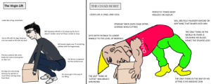 """The Virgin Lift vs. THE CHAD HOIST: The Virgin Lift  THE CHAD HOIST  PERFECTLY TONED BODY  LOOKS LIKE A CHAD, AND COOL  PROUDLY ON DISPLAY  Looks like a frog, and dumb  WILL BRUTALLY MURDER ANYONE OR  ANYTHING THAT BUMPS INTO HIM  STRAIGHT BACK GIVES CHAD EXTRA  LEVRAGE WHILE LIFTING  Will develop arthritis in his knees by 40, but it  THE ONLY THING IN THE  doesn't matter since he'll have no kids to raise  WORLD HE FEARS IS  LIFTS WITH HIS BACK TO LOWER  CRUSHING HIS BULGE,  Has to lift with his legs, because  he's too weak  HIMSELF TO THE LEVEL OF MORTALS  lift with his back  HENCE THE SPLAYED LEGS  Will easily topple over if something  collides with his fragile body  The box contains old comic  books his mom's forcing him  to clear out  His fat ass is exposed  for the world to see  His legs are only strong  because he spends so  much time running away  His knees get in the way of  his lifting  THE LAST THING HE  from Brad  THE ONLY THING IN THE WAY OF HIS  """"LIFTED"""" WAS BRAD'S  LIFTING IS HIS MASSIVE CHIN  GIRLFRIEND The Virgin Lift vs. THE CHAD HOIST"""