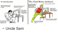 chad: The Virgin Meme Maker  The Chad Meme Architect  Use vast knowledee of  coujure up memes in ecand  Spend How creating  histary, politica, and  Re une old mene due to lack of  Usher in a  golden ape  memes, resaliemtto  Oue  s hundred times  beautiful work f art  Use hundred dallo  Reapert the crwft arieina  by usiag old veraies of  iating ort skils  Uncle Sam
