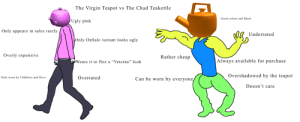 """Arguing, Flexing, and Ugly: The Virgin Teapot vs The Chad Teakettle  Good colour and Mesh  Ugly pink  Only appears in sales rarely  Underrated  Only OnSale variant looks ugly  Overly expensive  Rather cheap  Always available for purchase  wWWears it to flex a """"Veteran"""" look  Overshadowed by the teapot  Overrated  Only worn by LMaDers and Devs  Can be worn by everyone  Doesn't care Let's argue"""