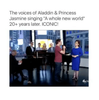 """Aladdin, Princess Jasmine, and Singing: The voices of Aladdin & Princess  Jasmine singing """"A whole new world'  20+ years later. ICONIC! 😮Follow @childhood for more😮 Tag Friends😮"""