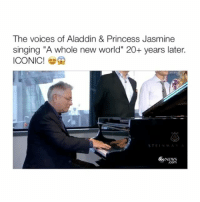 """Aladdin, Princess Jasmine, and The Voice: The voices of Aladdin & Princess Jasmine  singing """"A whole new world"""" 20+ years later.  ICONIC!  STEIN  6boNEws This is so iconic. Like furreal (Via: @abcnews) Follow @bitchy.tweets if you're watching 🙊🌻"""