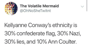 Confederate Flag, Spurs, and Confederate: The Volatile Mermaid  @OhNoSheTwitnt  Kellyanne Conway's ethnicity is  30% confederate flag, 30% Nazi,  30% lies, and 10% Ann Coulter. Cadet Bone Spurs