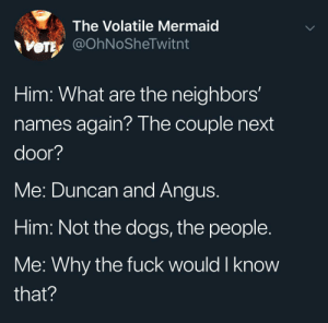 Theee are people that live next door?: The Volatile Mermaid  VOTE @OhNoSheTwitnt  Him: What are the neighbors'  names again? The couple next  door?  Me: Duncan and Angus.  Him: Not the dogs, the people.  Me: Why the fuck would I know  that? Theee are people that live next door?