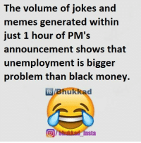 Memes, Announcement, and 🤖: The volume of jokes and  memes generated within  just 1 hour of PM's  announcement shows that  unemployment is bigger  problem than black money  fb Bhukkad  Tbhukkad insta :P