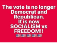 Memes, Socialism, and Freedom: The vote is no longer  Democrat and  Republican.  It is now  SOCIALISM vs  FREEDOM!!