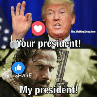 With the new president in 4 days, #TheWalkingDead fans, it would be great if YOU could VOTE for Rick Grimes today. :) (y)  LIKE my Elliot Van Orman Productions page for more. (y): The WalkingDeadAmc  Your president!  and SHARE!  My president! With the new president in 4 days, #TheWalkingDead fans, it would be great if YOU could VOTE for Rick Grimes today. :) (y)  LIKE my Elliot Van Orman Productions page for more. (y)