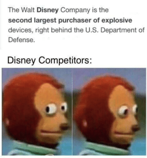 You ok Disney?: The Walt Disney Company is the  second largest purchaser of explosive  devices, right behind the U.S. Department of  Defense.  Disney Competitors: You ok Disney?