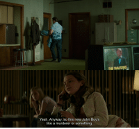 In The Nice Guys, John Boy (character on The Waltons) is mentioned at the beginning of the movie before showing up later: THE WALTONS  Yeah. Anyway, so this new John Boy's  like a murderer or something In The Nice Guys, John Boy (character on The Waltons) is mentioned at the beginning of the movie before showing up later