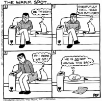 Memes, Cartoon, and Cartoons: THE WARM SPOT...  BE PATIENT  AH! HERE  WE GO!  FACEBOOK. COM ON THE  PROwL CAT CARTOONS  EVENTUALLY  HELL NEED  THE BATHROOM  HE IS SO NOT Don't move if you don't want the cat to take your place. From On The Prowl Cat Cartoons