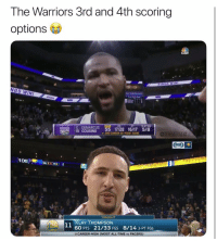 OP😂 nbamemes nba warriors (Via ‪samstaydipped‬-Twitter): The Warriors 3rd and 4th scoring  options  KINGS WIN!  NGS WIN  EMARCUS 55 17728 16/17 5/8  3-PTFG  KiNGs  15 COUSINS  ONBAMEMES  2ND CAREER 50-POINT GAME  FoX)  TONIGHT  KLAY THOMPSON  60 PTS 21/33 FGS 8/14 3-PT FGS  O CAREER-HIGH (MOST ALL-TIME vs PACERS) OP😂 nbamemes nba warriors (Via ‪samstaydipped‬-Twitter)