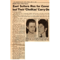 """💜✊: THE WASHINGTON DAILY NEWS, FRIDAY, JUNE 11. 1943  Hobble Skirts Hide Razors  Zoot Suiters Run for Cover  but Their Cholitas' Carry On  By WILLIAM C. PAYETTE  United Presa Buatt Correspondent  LOS ANGELES, June 11-Dark-eyed """"cholitas"""" packing razora in the tops of their black  mesh stockings today took up street fighting where their male zoot-suit counterparts were being  forced to drop it.  Garbed entirely in midnight black, with an above-the-knee version of the hobble skirt, they  andiousely vowed to carry the battle against servicemen and police """"until one side or the other  s wiped out  Three of them attacked a waitress coming out of a downtown tunnel, knocked her down and  slashed her with a razor.  Her assailants fled when an uniden-  tified man ran to her ad. The vie-  tim, Betty Morgan, waa bleeding  profusely And was hysterical. There  war no apparent reason for the at-  STRIP-TEASE PROBLEM  The cholitas, auxiliaries of the zoot-  suit gangs which for months have  made walks on dimly lighted atreets  a risky affair, stoutly insisted they  would not be diverted, Altho service.  men have been ripping the zoot  clothing from  the male mobsters, such  treatment of the female branch pre-  sented a  Previously takeni In custody was  young woman who carried  a pair of  brass knuckles and, pollee Kaid, """"knew  A year-old girl  how to use them.  was taken to jail for inciting re-  sistance to officers attempting to make  The county grand jury began an in-  westigation of the riots, which had led  the Navy to declare the entire city  out of bounds and left the 8kidrow  Joining up with their morenle, Boot-suited comrades, the pachuco girts have  district on the Amay blacklist.  Army and Navy authorities held an  jutted their chins out in the intramural warfare in the Los Angeles area.  off-the-record session with State Atty.  Left, Betty Morgan, te-year-old waitress who was stabbed by three pacbueos.  Gen. Robert W. Kenny, here to conduct  Right, Mrs. Amelia Venegas"""