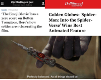 Emoji, Golden Globes, and Sony: The Washington ost L  THE  Democracy Dies in Darkness  REPORTER  Comics Perspective  The Emoji Movie' has a Golden Globes: Spider-  zero score on Rotten  Tomatoes. Here's how  critics are eviscerating the Verse  film.  Man: Into the Spider-  ' Wins Best  Animated Feature  Perfectly balanced. As all things should be.