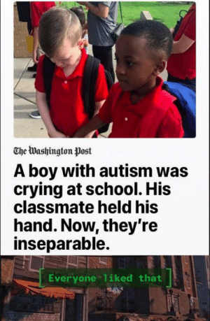 *happy Butter face*: The Washington Post  A boy with autism was  crying at school. His  classmate held his  hand. Now, they're  inseparable.  Everyone 1iked that *happy Butter face*