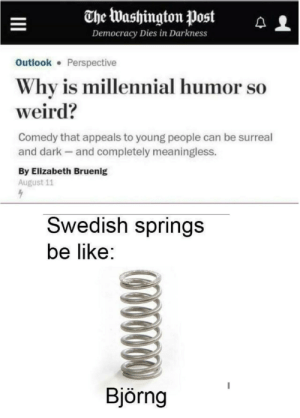 apardonablemonomania:  madamebomb:  loloftheday:  bjorng  I burst out laughing. BJORNG.  : The Washington Post  Democracy Dies in Darkness  Outlook Perspective  Why is millennial humor so  weird?  Comedy that appeals to young people can be surreal  and dark and completely meaningless.  By Elizabeth Bruenig  August 11  Swedish springs  be like:  Björng apardonablemonomania:  madamebomb:  loloftheday:  bjorng  I burst out laughing. BJORNG.