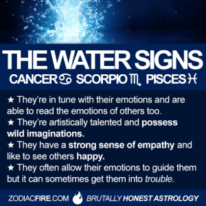 Fire, Astrology, and Cancer: THE WATER SIGNS  CANCER SCORPIO m PISCES  They're in tune with their emotions and are  able to read the emotions of others too  x They're artistically talented and possess  wild imaginations.  * They have a strong sense of empathy and  like to see others happy.  x They often allow their emotions to guide them  but it can sometimes get them into trouble.  ZODIACFIRE.COMBRUTALLY HONEST ASTROLOGY Traits of the WATER signs... #Cancer #Scorpio #Pisces  Learn more: zodiacfire.com/water-signs/  Via Zodiac Fire 🔥