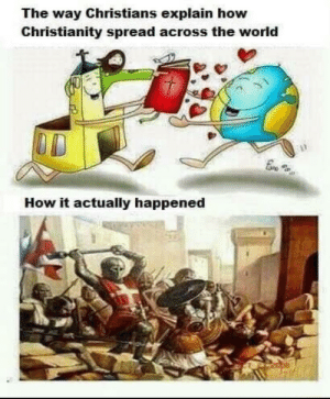 Time for another crusade. via /r/memes https://ift.tt/2YOzXT6: The way Christians explain how  Christianity spread across the world  How it actually happened Time for another crusade. via /r/memes https://ift.tt/2YOzXT6