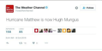Dank, Hurricane, and The Weather: The Weather Channel  The  Weather  Qweatherchannel  Channel  Hurricane Matthew is now Hugh Mungus  RE TWEETS LIKES  85  158  9:44 AM 8 Oct 2016  t 15  Follow