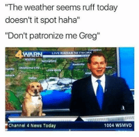 "Dank, News, and Live: The weather seems ruff today  doesn't it spot haha'""  ""Don't patronize me Greg""  WARN L  LIVE RADAR NETWORK  800a Wichit  te  Atlar  bbock  Daias  Channel 4 News Today  1004 WSMVD"