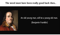 Benjamin Franklin, Old Man, and Weed: The weed must have been really good back then.  An old young man, will be a young old man.  (Benjamin Franklin)