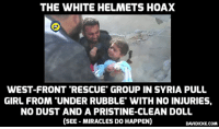 THE WHITE HELMETS HOAX  WEST-FRONT RESCUE GROUP IN SYRIA PULL  GIRL FROM UNDER RUBBLET WITH NO INJURIES,  NO DUST AND A PRISTINE-CLEAN DOLL  (SEE MIRACLES DOHAPPEN)  DAVIDICKE.COM 'When camera gone they leave people under rubble' – Aleppo residents on Western-backed White Helmets http://bit.ly/2how2pL #Syria