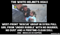 """THE WHITE HELMETS HOAX  WEST-FRONT 'RESCUE GROUP IN SYRIA PULL  GIRL FROM """"UNDER RUBBLE' WITH NO INJURIES,  NO DUST AND A PRISTINE-CLEAN DOLL  (SEE- MIRACLES DO HAPPEN)  DAVIDICKE.COM White Helmets: a West-funded propaganda front in Syria - see the miraculous 'Rag Doll Rescue': http://bit.ly/2dDXXhR #whitehelmets #Syria"""