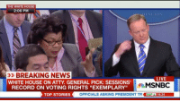 """Memes, Msnbc, and 🤖: THE WHITE HOUSE  2:06 PM  THING TON  »BREAKING NEWS  LIVE  WHITE HOUSE ON ATTY GENERAL PICK: SESSIONS'  MSNBC  RECORD ON VOTING RIGHTS """"EXEMPLARY""""  TOP STORIES  OFFICIALS ASKING PRESIDENT TR SEPA 16.24 alternativefacts press secretary sean spicer said trump sat down with Martin Luther King Jr. 😳👀 ballerificpolitics"""