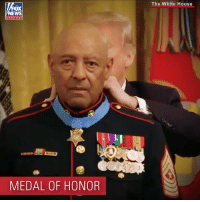 "Memes, White House, and House: The White House  OX  channel  l.J  MEDAL OF HONOR In a ceremony Wednesday, President @realdonaldtrump presented the Medal of Honor to Marine veteran John Canley for his ""conspicuous gallantry"" during the Vietnam War 50 years ago."