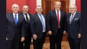 """Time, Trump, and Him: The whole gang's here. VP Pence, newly arrested Giuliani buds Igor Fruman and Lev Parnas, """"I hardly knew the man to my left, only met him this one time"""" Trump, and His Dishonored himself."""