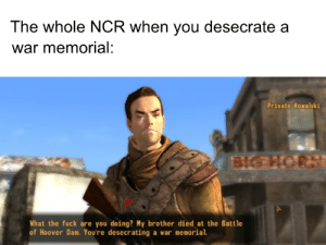 Fuck, Dank Memes, and Private: The whole NCR when you desecrate a  war memorial:  Private Kowalski  BIG NORN  What the fuck are you doing? My brother died at the Battle  of Hoover Dam. You're desecrating a war memorial. And the NCR is gonna send 'em in!