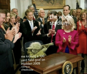 me_irl: the whole  stadium  me kicking a 100  yard field goal on  Madden 2009  using a  cheatcode me_irl