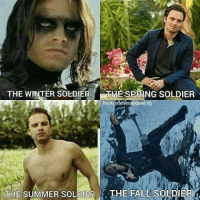 Memes, 🤖, and Winter Soldier: THE WINTER SOLDIER  SPRING SOLDIER  buckysdefencesquad  THE SUMMER SOLDIER  THE FALL SOLDIER which one is your favorite