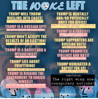 Hitler Trump: THE  WOKS  LEFT  TRUMP WILL THROW  MUSLIMS INTO CAGES!  literally hitler  TRUMP IS MENTALLY  AND/OR PHYSICALLY  UNFIT FOR OFFICE!  don't believe doctor -he s in  on it too  TRUMP IS A RUSSIAN SPY!  we wi11 prove because woke  ru  with  TRUMP IS A FASCIST!  mig  eny, r  murder ahies  TRUMP WON'T ACCEPT THE  TRUMP SUPPORTERS ARE  RUSSIAN BOTS!  RESULTS OF AN ELECTION!  so we must #resist  they dehumanize  in  TRUMP IS A RACIST AND A  TRUMP PROMOTES  VIOLENCE AND HATE!  anonnn  wgt ASO0YNIST  we are sa WOke  bash the fash.exe  TRUMP LIES ABOUT  EVERYTHING!  msn tells me everynight  TRUMP NOMINATEDA  RAPIST FOR SC!  literally.shaking.  TRUMP IS RIGGING THE  OVERNMENT TO ENRICH T  conclusion:  The right wirn  g are  HIMSELF!  and is using media to cover  it up  conspiracy nutjobs!  1  10
