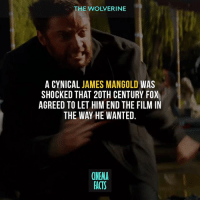 "Bad, Facts, and Memes: THE WOLVERINE  A CYNICAL JAMES MANGOLD WAS  SHOCKED THAT 20TH CENTURY FOX  AGREED TO LET HIM END THE FILM IN  THE WAY HE WANTED.  CINEMA  FACTS This movie was good until the 3rd act, but action scenes is a pretty good too just like in ""Logan"". This movie gets so much undeserved hate. There were some parts that are stupid but it's really not that bad. - logan wolverine thewolverine wolverine3 oldmanlogan jameshowlett xforce weaponx adamantium claws deadpool mercwithamouth merc mercenary antihero spidey spiderman peterparker marvellegends marveluniverse marvel marvelcomics marvelheroes x23 comicart comics DonaldPierce BoydHolbrook cinema_facts jamesmangold"