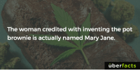 Memes, Wikipedia, and Wiki: The woman credited with inventing the pot  brownie is actually named Mary Jane.  überfacts On-the-nose. https://en.wikipedia.org/wiki/Brownie_Mary