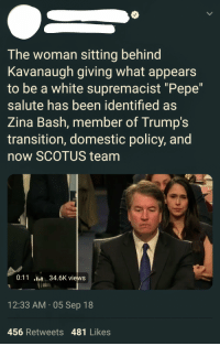 "Tumblr, Blog, and Http: The woman sitting behind  Kavanaugh giving what appears  to be a white supremacist ""Pepe""  salute has been identified as  Zina Bash, member of Trump's  transition, domestic policy, and  now SCOTUS team  0:1134.6K views  12:33 AM 05 Sep 18  456 Retweets 481 Likes memehumor:  May…Just maybe, someone is over analysing it"