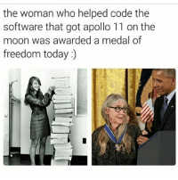 Memes, Apollo, and Moon: the woman who helped code the  software that got apollo 11 on the  moon was awarded a medal of  freedom today