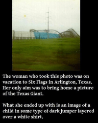Memes, Videos, and Giant: The woman who took this photo was on  vacation to Six Flags in Arlington, Texas.  Her only aim was to bring home a picture  of the Texas Giant.  What she ended up with is an image of a  child in some type of dark jumper layered  over a white shirt. I will be posting more posts tomorrow on here and on @haunted.videos 😀