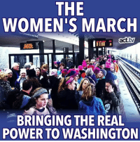 Memes, 🤖, and Washington: THE  WOMEN'S MARCH  act.tw  BRINGING THE REAL  POWER TO WASHINGTON Amazing turnout for the Women's March. Paying attention, Donald?