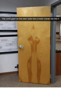Moist: The wood grain on this door looks like a moist woman ran into it