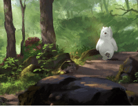 Memes, Bear, and Deviantart: The woods are calling, and Ice Bear must go. Who's up for a nice hike today? 🌲🌳🚶‍♂️ . 🎨: indahalditha-DeviantArt . TakeaHikeDay WeBareBears IceBear