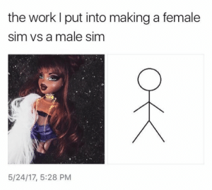 Work, Pinterest, and Sim: the work l put into making a female  sim vs a male sim  5/24/17, 5:28 PM 𝘍𝘰𝘭𝘭𝘰𝘸 𝘮𝘺 𝘗𝘪𝘯𝘵𝘦𝘳𝘦𝘴𝘵! → 𝘤𝘩𝘦𝘳𝘳𝘺𝘩𝘢𝘪𝘳𝘦𝘥