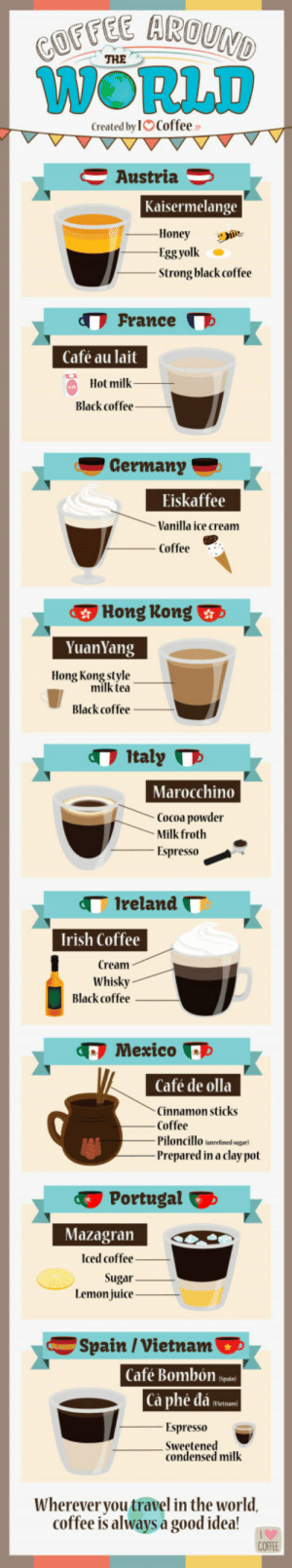 Irish, Juice, and Love: THE  WORLD  Created by IO Coffee  Austria 3  Kaisermelange  Honey  Strong black coffee  France  Café au lait  Hot milk_  Black coffee -  Germany  Eiskaffee  Vanilla ice cream  Coffee  Hong Kong  YuanYang  Hong Kong style  milk tea  Black coffee  Italy  Marocchino  Cocoa powder  Milk froth  -Espresso  Ireland  Irish Coffee  Cream  Whisky  Black coffee  Mexico  Café de olla  Cinnamon sticks  Coffee  Piloncillo unrefined sugar)  Prepared in a clay pot  Portugal  Mazagran  Iced coffee  Sugar  Lemon juice  Spain / Vietnam  Café Bombon sp  Ca phe da e»-  -Espresso  -sweetened  condensed milk  Whereveryou travel in the world.  coffee is always a good idea! Coffee around the world (By I Love Coffee)