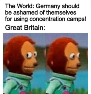 Germany, History, and World: The World: Germany should  be ashamed of themselves  for using concentration camps!  Great Britain: They will never find out