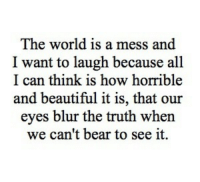 Beautiful, Bear, and World: The world is a mess and  I want to laugh because all  I can think is how horrible  and beautiful it is, that our  eyes blur the truth when  we can't bear to see it.