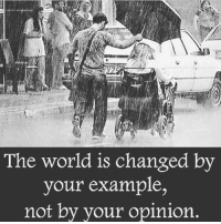 Memes, Converse, and Space: The world is changed by  your example  not by your opinion Via: @awake_spiritual 👈 How you treat people says a lot about you. . Learn names and learn them quickly. A good tip for remembering names is to use a person's name three times within your first conversation with them. Also, write names down and keep business cards. People know when you don't know their names and may interpret this as a sign that you don't value them. . Don't make value judgments on people's importance in the workplace. Talk to the maintenance staff members and to the people who perform many of the administrative support functions. These people deserve your respect! . Self-assess: Think about how you treat your supervisor(s), peers, and subordinates. Would the differences in the relationships, if seen by others, cast you in an unfavorable light? If so, find where the imbalance exists, and start the process of reworking the relationship dynamic. . What you share with others about your personal life is your choice, but be careful. Things can come back to haunt you. Don't ask others to share their personal lives with you. This makes many people uncomfortable in the work space. . Respect people's personal space. This may be very different than your own. ✑ -